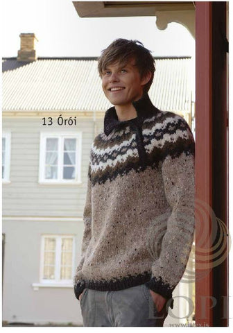Icelandic sweaters and products - Órói (Disturbance) Mens Wool Sweater Brown Tailor Made - Shopicelandic.com