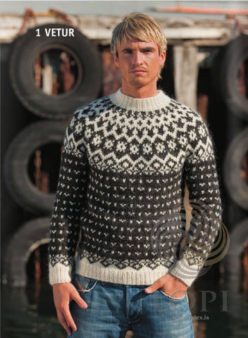 Icelandic sweaters and products - Vetur (Winter) Mens Wool Sweater Black Tailor Made - Shopicelandic.com