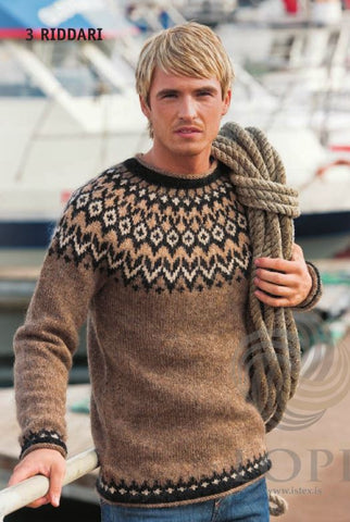 Icelandic sweaters and products - Riddari (Knight) Mens Wool Sweater Brown Tailor Made - Shopicelandic.com