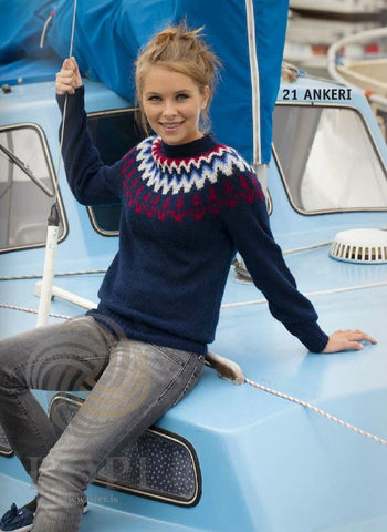 Icelandic sweaters and products - Ankeri (Ancor) Women Wool Sweater Blue Tailor Made - Shopicelandic.com
