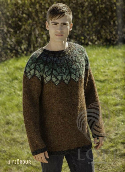 Icelandic sweaters and products - Fjöður (Feather) Mens Wool Sweater Brown Tailor Made - NordicStore