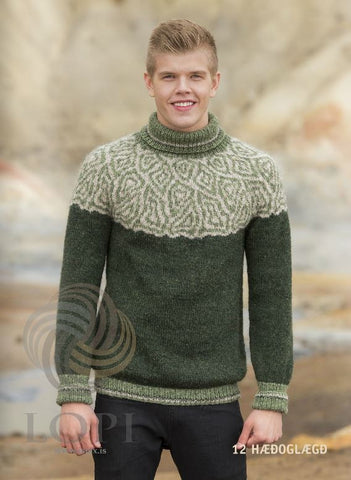 - Icelandic Hæð og Lægð  Mens Wool Sweater Green - Tailor Made - Nordic Store Icelandic Wool Sweaters  - 1
