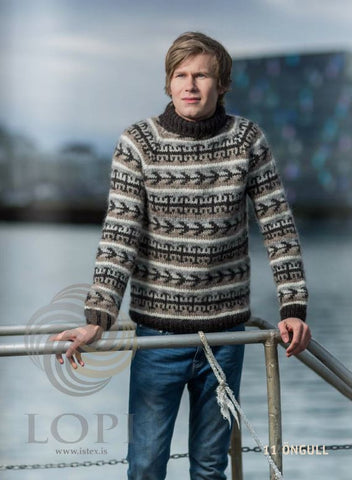 Icelandic sweaters and products - Öngull Mens Wool Sweater Brown Tailor Made - Shopicelandic.com