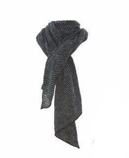 Wool Striped Shawl Black/Grey - Wool Accessories - Shop Icelandic Products