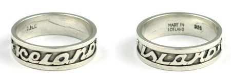 "Silver Ring Text ""Iceland"" & ""Island"" - Jewelry - Shop Icelandic Products"