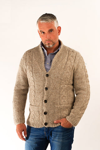 Icelandic sweaters and products - Bjarni Wool Cardigan Beige Wool Sweaters - Shopicelandic.com