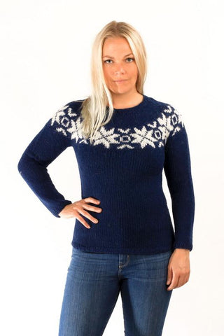 Icelandic sweaters and products - Eykt Wool Pullover Blue Wool Sweaters - Shopicelandic.com