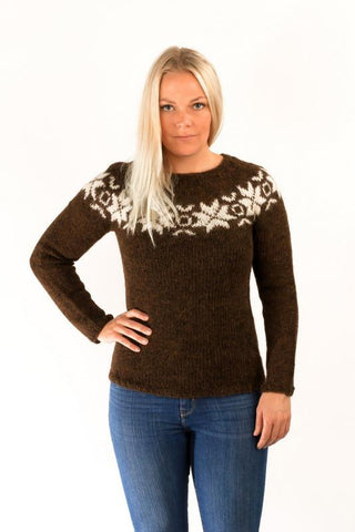 Icelandic sweaters and products - Eykt Wool Pullover Brown Wool Sweaters - Shopicelandic.com