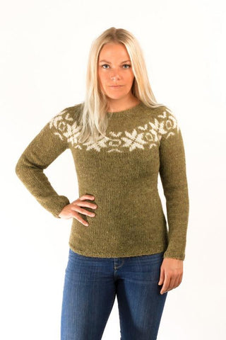 Icelandic sweaters and products - Eykt Wool Pullover Green Wool Sweaters - Shopicelandic.com