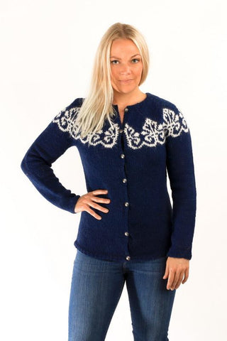 Icelandic sweaters and products - Hruni Wool Cardigan Blue Wool Sweaters - Shopicelandic.com