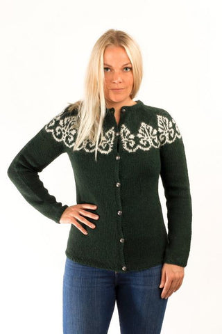 Icelandic sweaters and products - Hruni Wool Cardigan Green Wool Sweaters - Shopicelandic.com