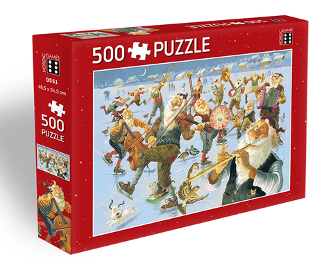 Icelandic sweaters and products - Yule Lads Band on Skates - Jigsaw Puzzle (500pcs) Puzzle - Shopicelandic.com
