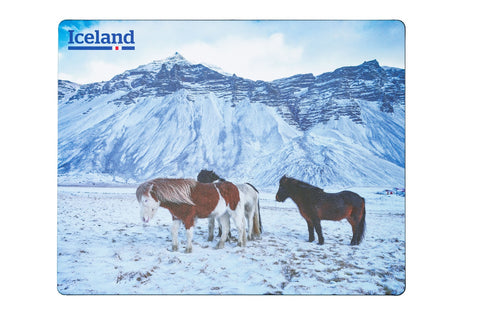Icelandic sweaters and products - Mousemat - Horses in Iceland winter Mousemat - Shopicelandic.com