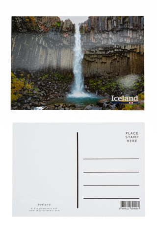 Postcard - The black waterfall, Svartifoss, Iceland