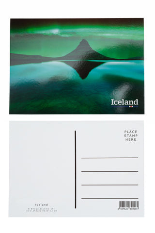 Icelandic sweaters and products - Postcard - Northern lights at Kirkjufell Postcards - Shopicelandic.com