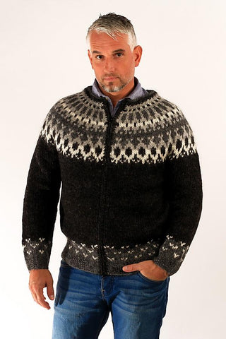 Icelandic sweaters and products - Skipper Wool Cardigan Black Wool Sweaters - Shopicelandic.com