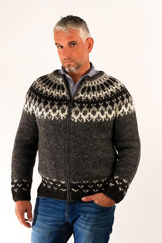 Icelandic sweaters and products - Skipper Wool Cardigan Grey Wool Sweaters - Shopicelandic.com