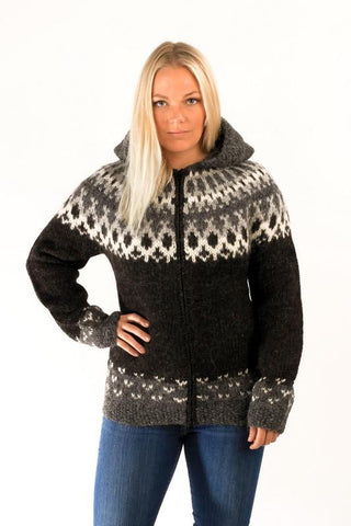 Icelandic sweaters and products - Skipper Wool Cardigan w/Hood Black Wool Sweaters - Shopicelandic.com