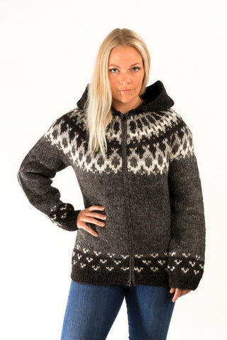 Icelandic sweaters and products - Skipper Wool Cardigan w/Hood Grey Wool Sweaters - Shopicelandic.com