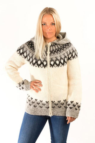 Icelandic sweaters and products - Skipper Wool Cardigan w/Hood White Wool Sweaters - Shopicelandic.com