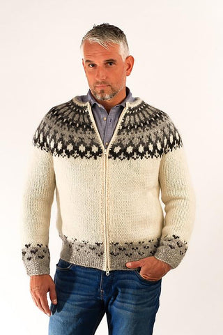 Icelandic sweaters and products - Skipper Wool Cardigan White Wool Sweaters - Shopicelandic.com