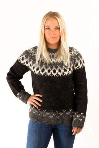 Icelandic sweaters and products - Skipper Wool Pullover Black Wool Sweaters - Shopicelandic.com