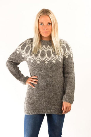 Icelandic sweaters and products - Tight Fit Wool Pullover Grey Wool Sweaters - Shopicelandic.com
