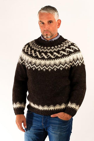 Icelandic sweaters and products - Traditional Wool Pullover Black Wool Sweaters - Shopicelandic.com
