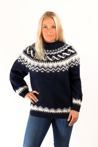 Icelandic sweaters and products - Traditional Wool Pullover Blue Wool Sweaters - Shopicelandic.com