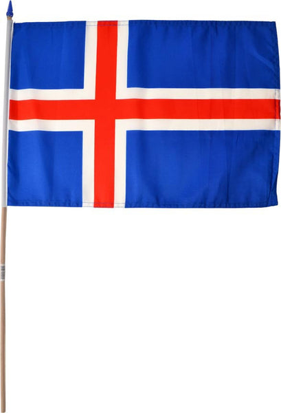 Icelandic nylon flag on a stick