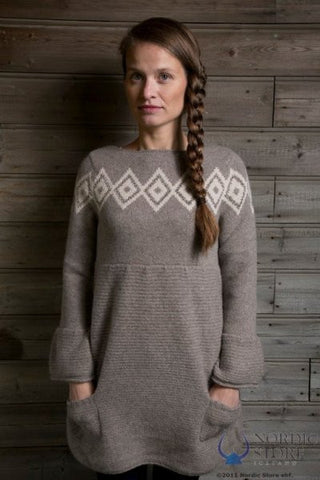 Icelandic sweaters and products - Freyja Dress Brown Icelandic Sweaters - Shopicelandic.com