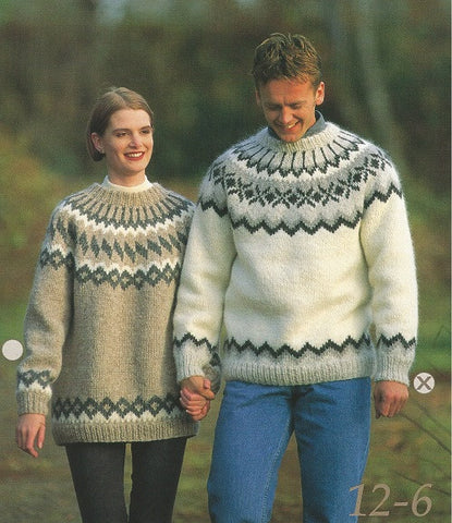 Icelandic Wool Sweater Pattern 12-6 Male - Icelandic Wool Sweater Pattern - Shop Icelandic Products
