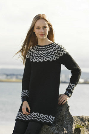 KEÐJA Black sweater, long or short, knitting kit - Wool Knitting Kit - Shop Icelandic Products