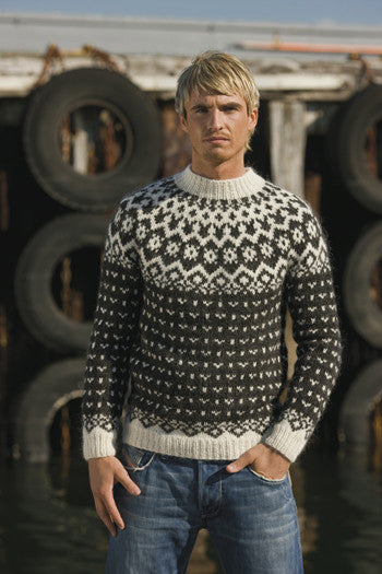Icelandic Fishermans Wool Pullover - Dark Grey Heather - Wool Knitting Kit - Shop Icelandic Products