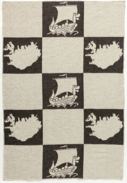 Icelandic Products Álafoss Wool Blanket - Jaquard Viking (0203) Wool Blanket- ShopIcelandic