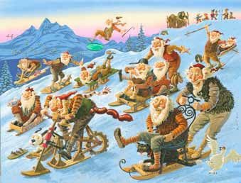 Yule Lads Sledride - Poster - Poster - Shop Icelandic Products