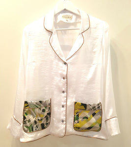 CAMISA PIJAMA COLOR BLANCO CON BOLSILLO JUNGLE