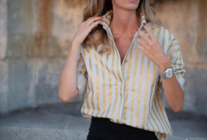 CAMISA LINO & GOLD STRIPES