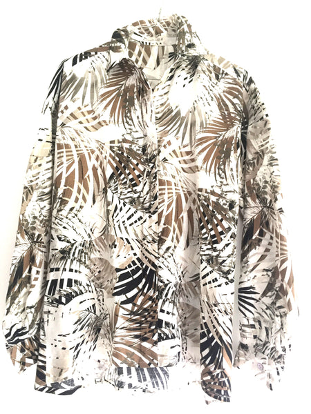 NEW! Camisa boyfriend jungle taupé