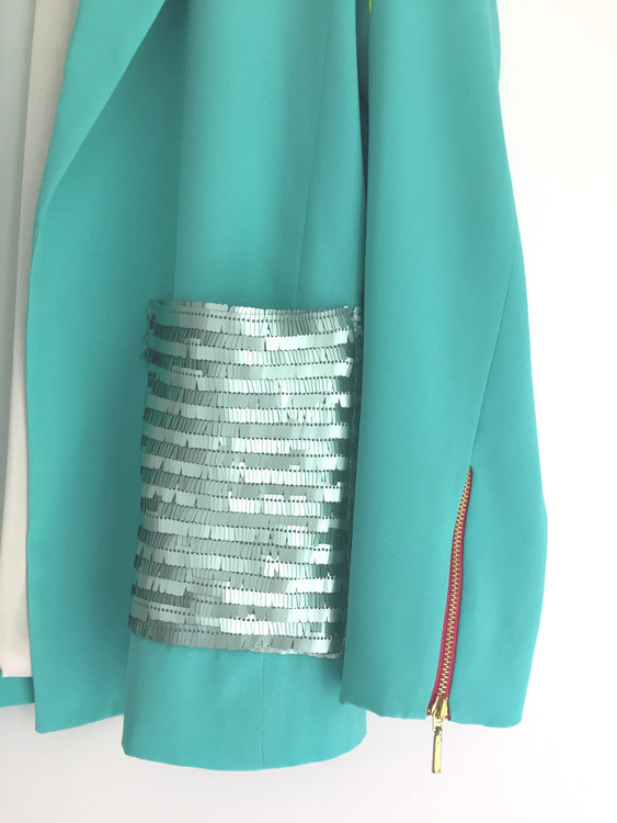 Blazer Mint Paillete Pocket