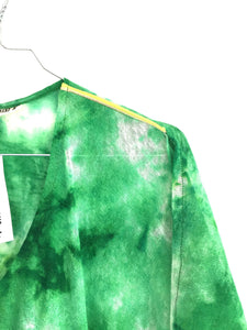 NEW! VESTIDO LARGO ESCOTE PICO GREEN TIE- DYE