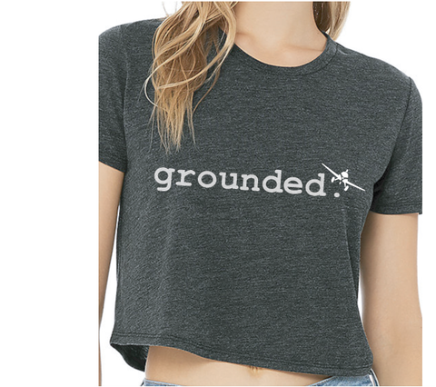 grounded. - Crop - Dark Grey Heather