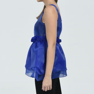Blue Organza Ruffle Top