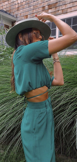 Danielle Green Cropped Shirt