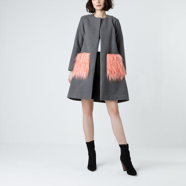 Grey Wool Fur Pocket Coat