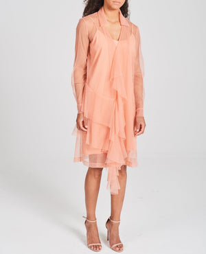 Draped Mesh Shirt Dress