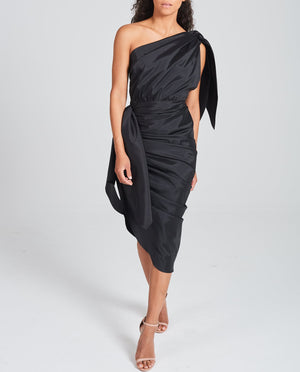 Gathered Taffeta Black Dress