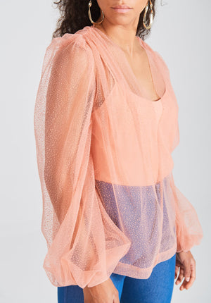 Gathered Mesh Blouse