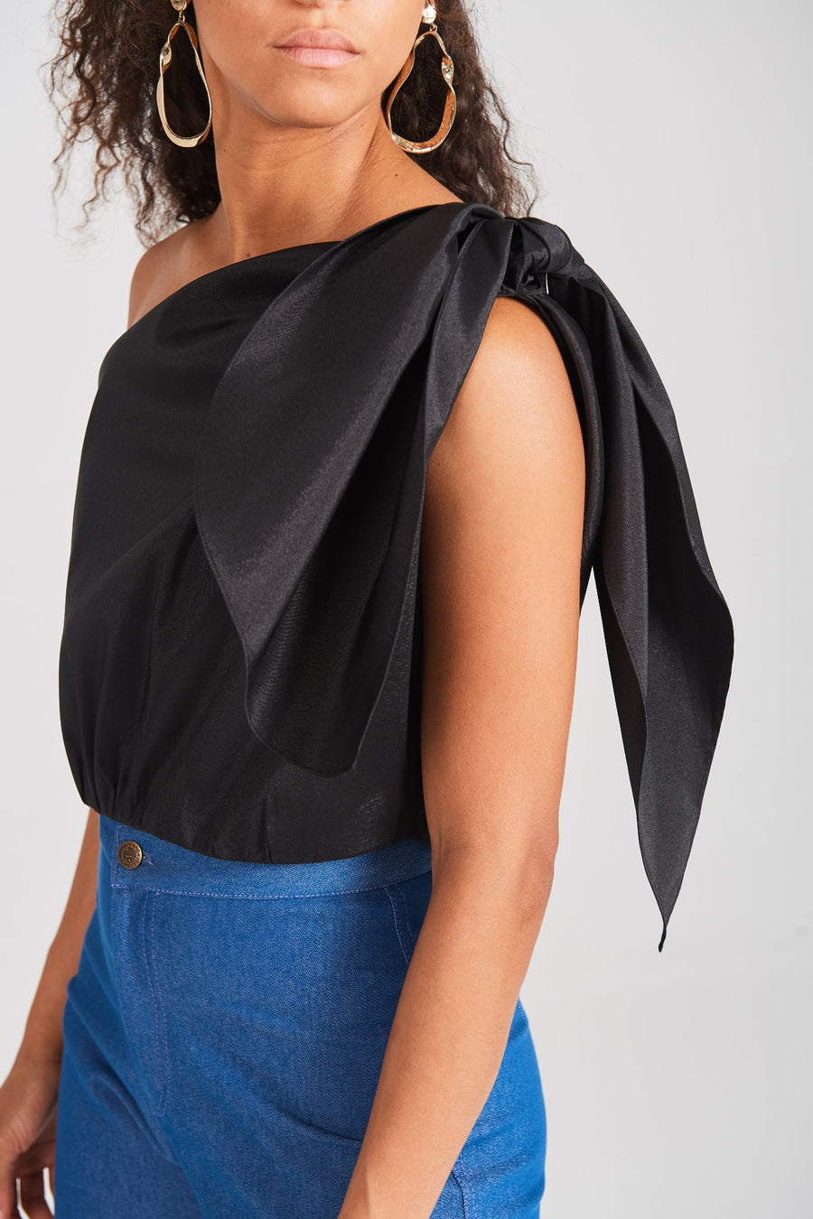 Taffeta One-shoulder Top