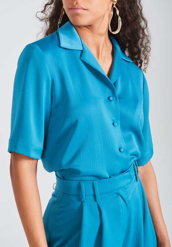 Teal Button Down Blouse